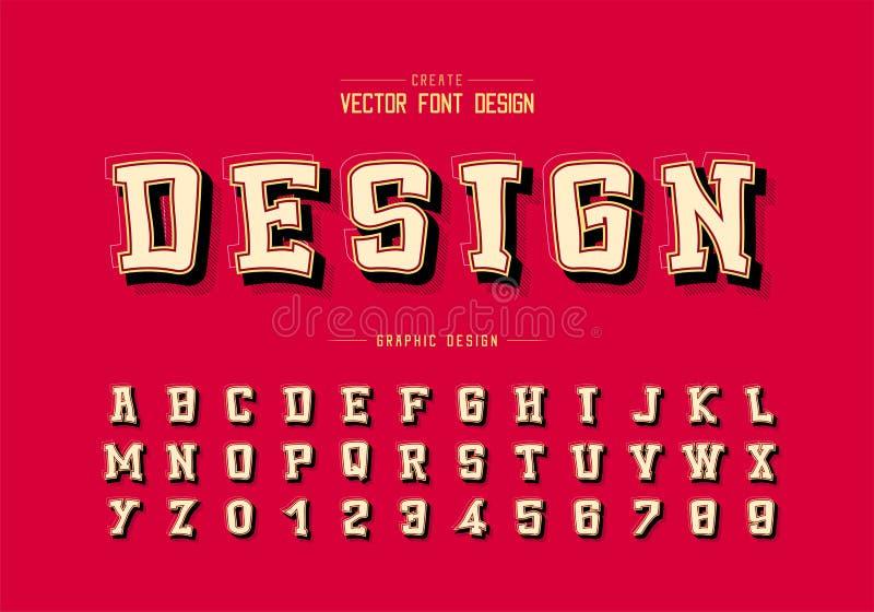 Ombra e linea vettore della fonte del fumetto, carattere di alfabeto e progettazione di numero, testo grafico su fondo illustrazione di stock