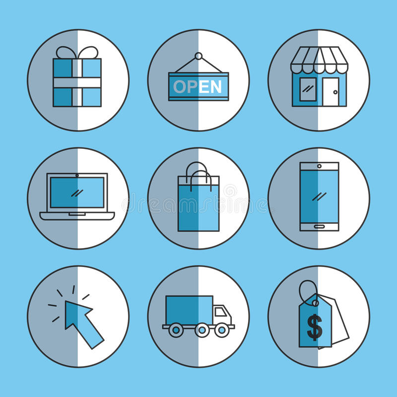 Ombra messa icone online di acquisto illustrazione di stock