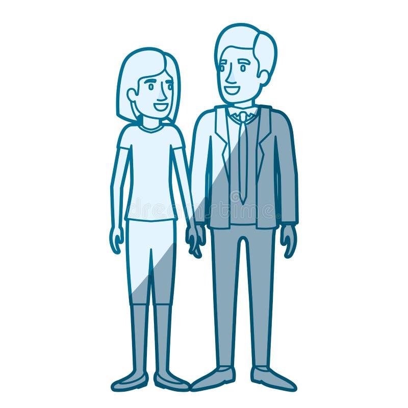 Ombrage bleu de silhouette de couleur de la position de l'homme et de femme et elle avec les cheveux courts et lui dans le costum illustration libre de droits