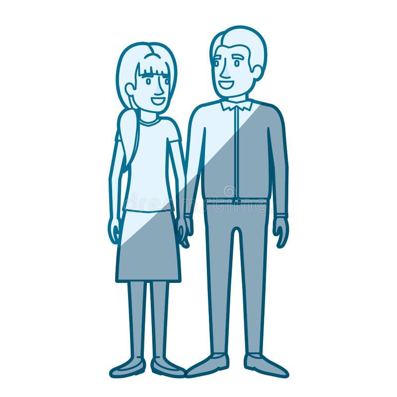 Ombrage bleu de silhouette de couleur de la position de l'homme et de femme et elle avec la queue de cheval et lui dans les vêtem illustration de vecteur