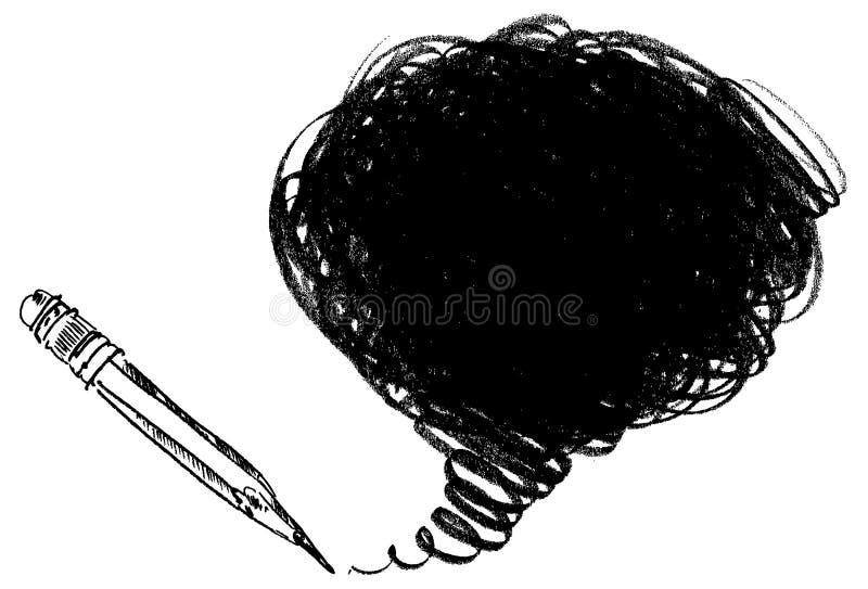 Ombrage de crayon. Tiré par la main illustration stock