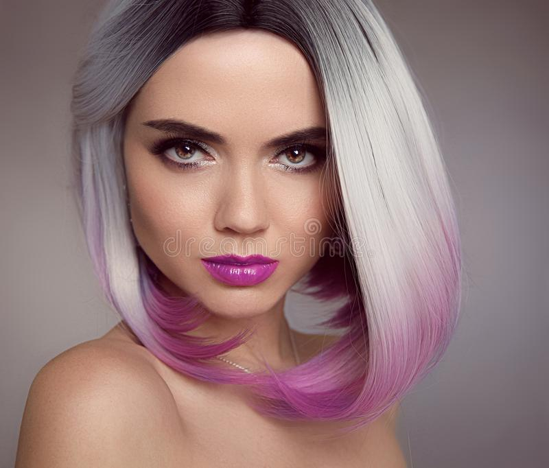 Ombre blonde bob short hairstyle. Beautiful hair coloring woman. Fashion Trendy haircut. Blond model with short shiny hairstyle. Concept Coloring Hair. Beauty royalty free stock photos