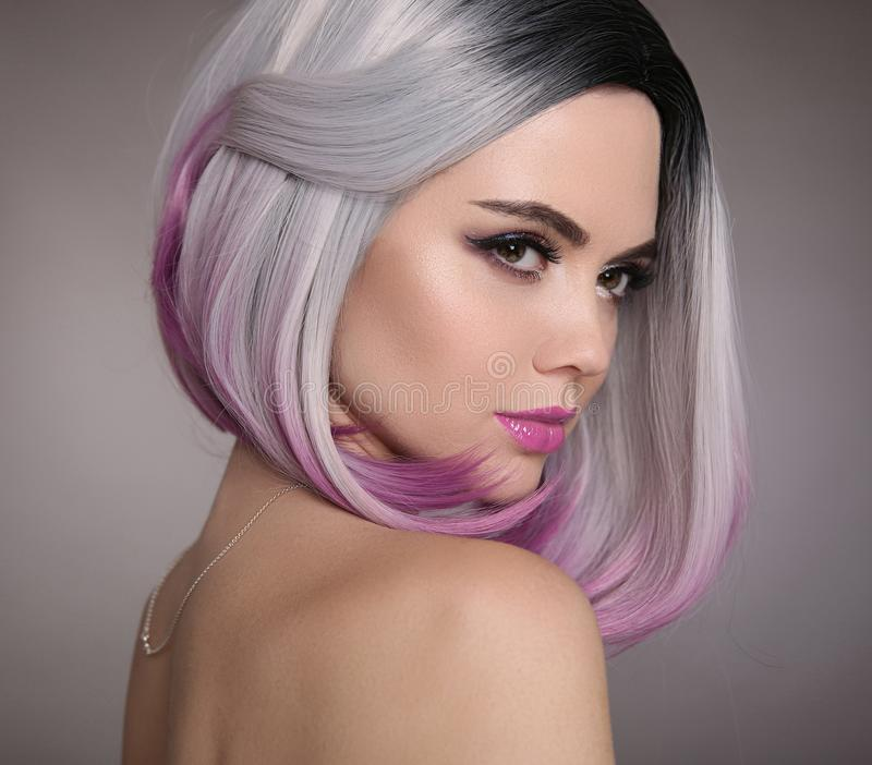 Ombre bob short hairstyle. Beautiful hair coloring woman. Fashion Trendy haircut. Blond model with short shiny hairstyle. Concept. Coloring Hair. Beauty Salon royalty free stock image