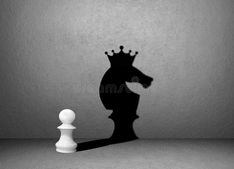 Ombre d'échecs de cheval sur le mur, gagnant image stock