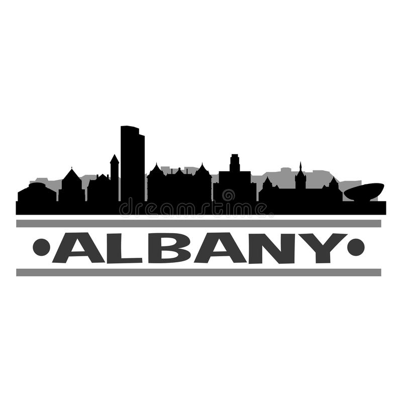 Ombre d'Art Design Skyline Night Flat de vecteur d'icône d'Albany New York Etats-Unis d'Amérique Etats-Unis illustration stock