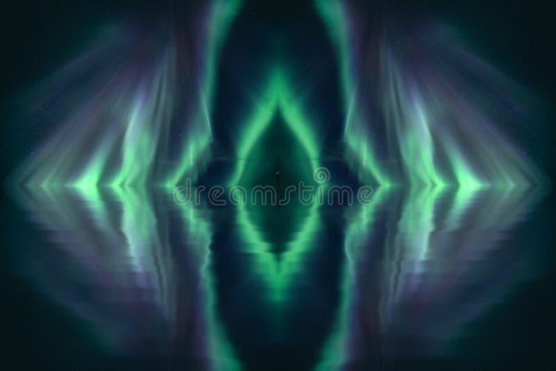 Ombre dans la réflexion verte de lumières du nord dans la galaxie photo stock