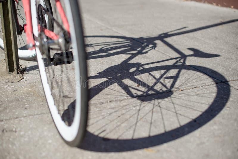 Ombre de bicyclette sur la route photos libres de droits