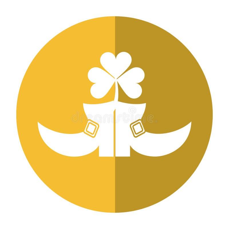 Ombre de jour de St Patrick de trèfle de leprachaun de botte illustration stock