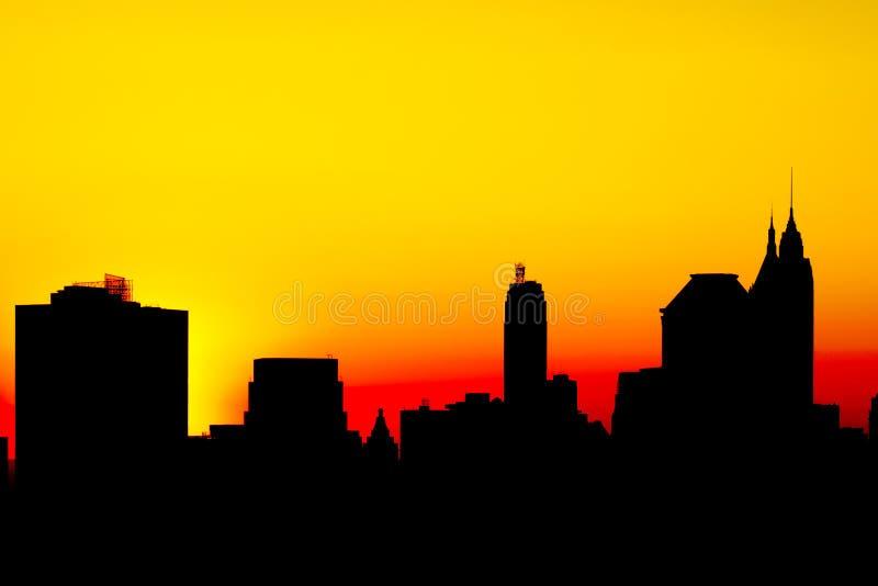 Ombre de la grande ville new york au coucher du soleil - Coucher du soleil new york ...