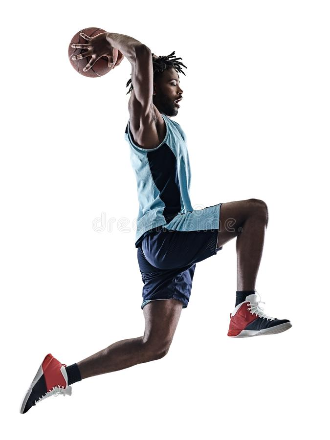 Ombre de silhouette d'isolement par homme de joueur de basket photo libre de droits