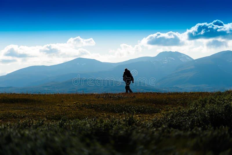 Ombre de voyageur seul à l'arrière-plan de la Norvège photos stock
