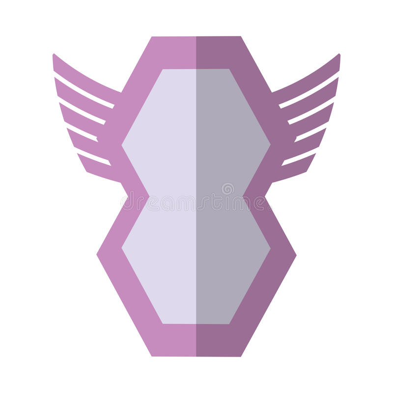 ombre géométrique d'insigne de forme à ailes par bouclier rose illustration stock
