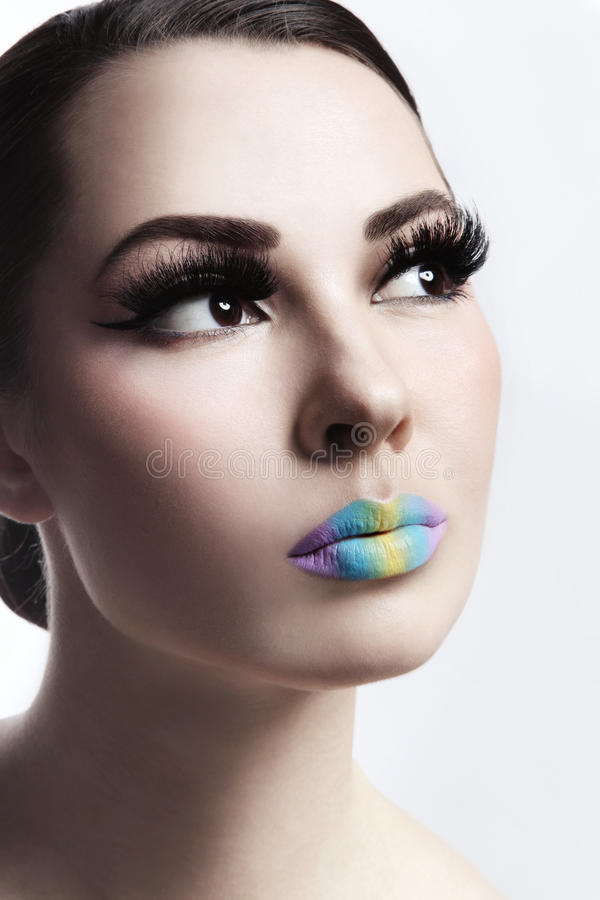 Ombre lips. Close-up portrait of young beautiful stylish woman with ombre lips stock images