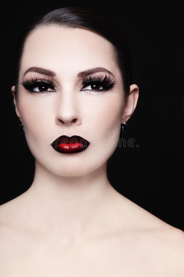 Ombre lips. Portrait of young beautiful woman with gothic ombre lips royalty free stock photo