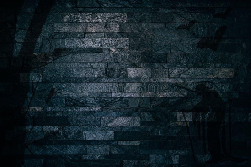 Ombre spettrali di Halloween di un albero con le streghe ed i pipistrelli del corvo su un fondo della parete di pietra illustrazione di stock