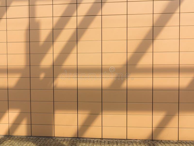 Ombre sul fondo piastrellato arancio della parete. Copyspace in bianco. Reale. immagini stock libere da diritti