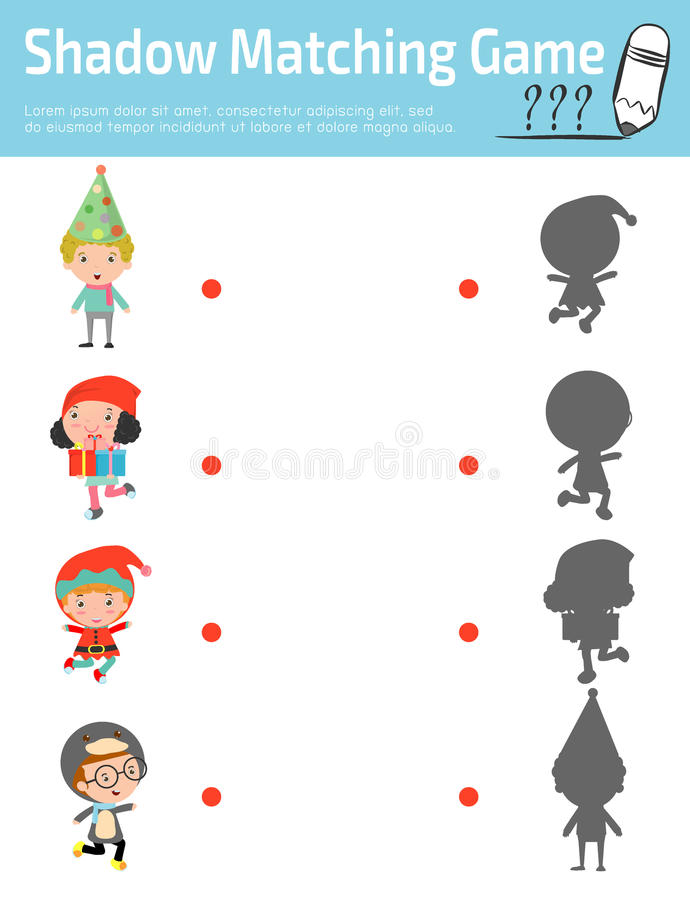 Ombreggi il gioco per i bambini, gioco visivo della corrispondenza per il bambino Colleghi i punti l'immagine, illustrazione di v illustrazione vettoriale