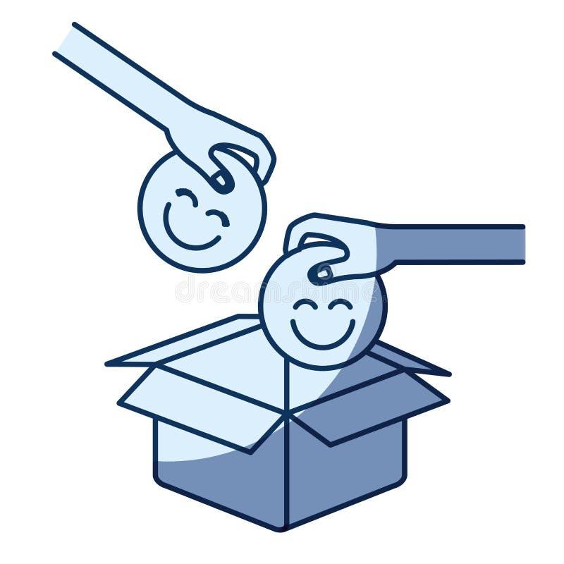Ombreggiatura blu della siluetta di colore della vista laterale delle mani di paia che tengono un simbolo felice dei fronti per d royalty illustrazione gratis