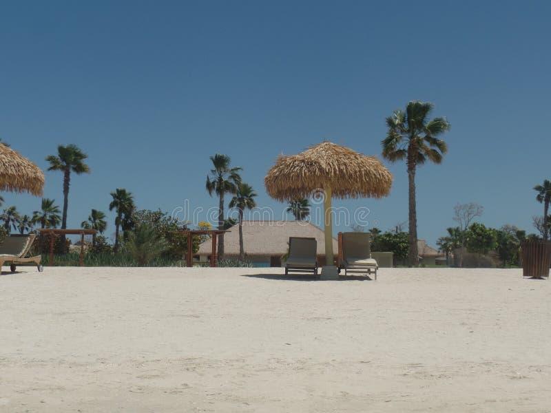 Ombrelli di spiaggia ad un centro di villeggiatura di lusso dell'isola fotografie stock libere da diritti