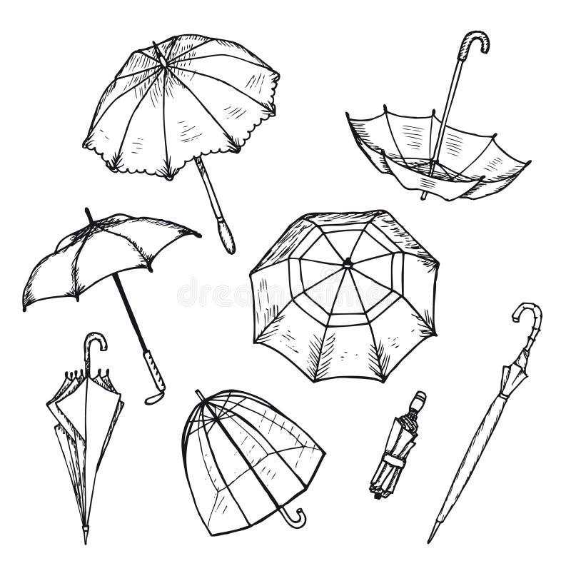 Ombrelli disegnati a mano messi royalty illustrazione gratis