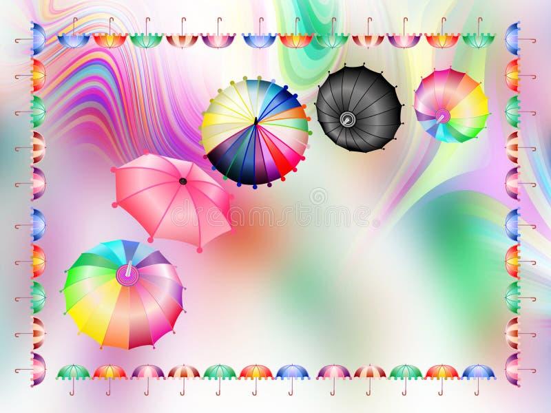 Ombrelli variopinti combinati, carta da parati astratta del fondo, illustrazione di vettore illustrazione vettoriale