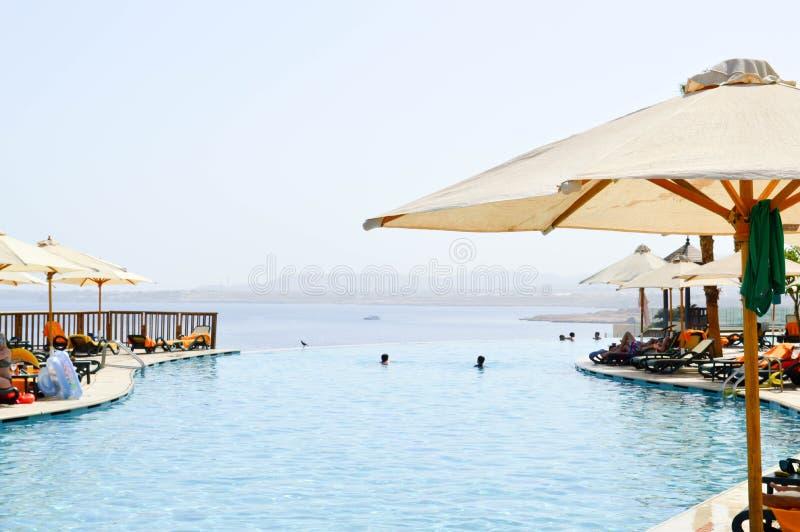 Ombrello bianco degli occhiali da sole sui precedenti dello stagno di infinito con le chaise-lounge del sole e dell'acqua blu su  immagine stock libera da diritti