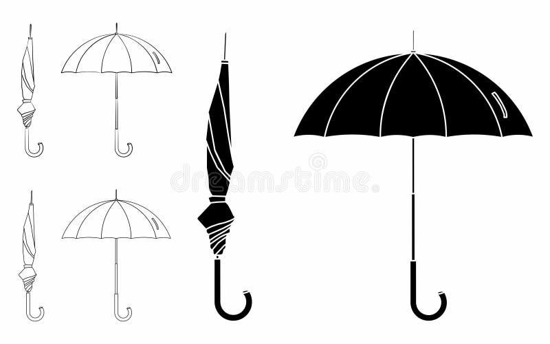 Ombrello chiuso ed aperto Profilo soltanto Materiale di riempimento nero illustrazione di stock