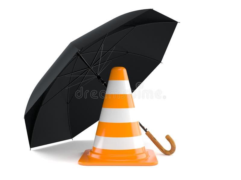 Ombrello con il cono di traffico illustrazione di stock