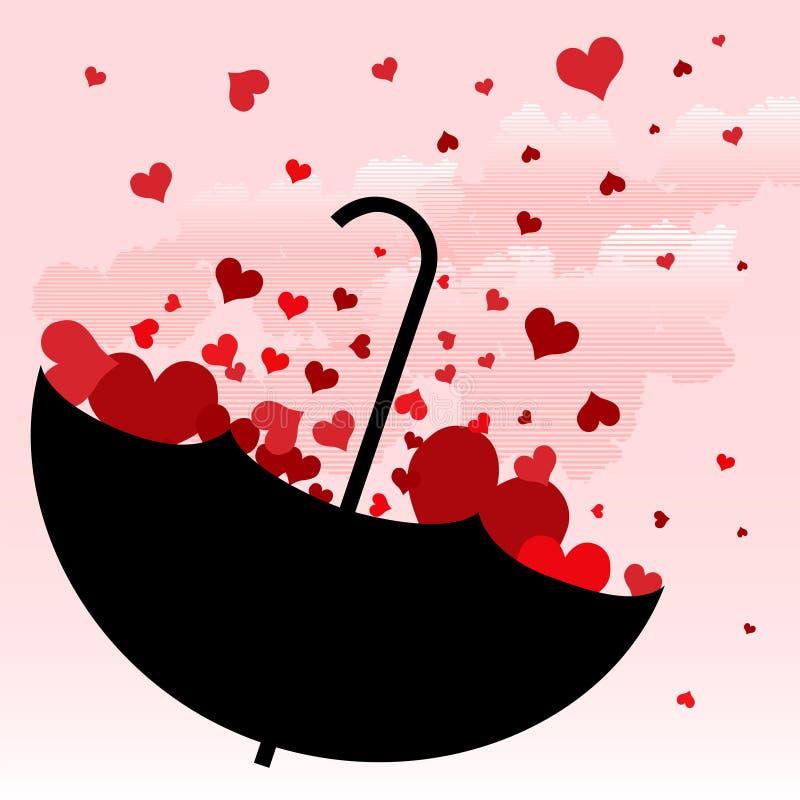 Ombrello con il disegno di amore illustrazione vettoriale