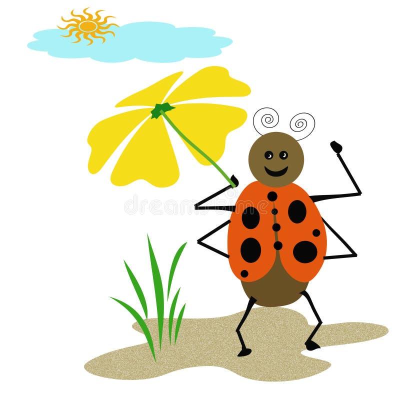 Ombrello del Ladybug illustrazione di stock