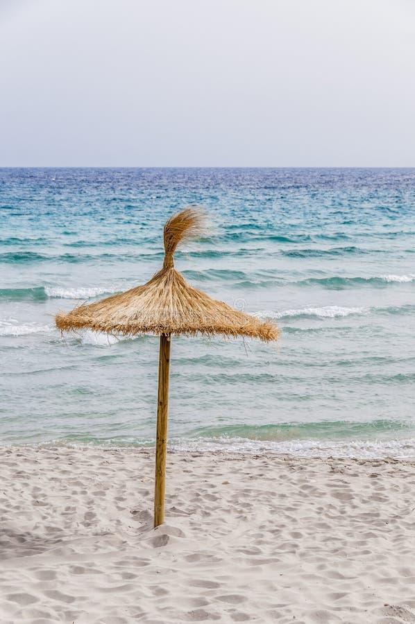 Download Ombrello Della Paglia Sulla Spiaggia Di Sabbia Immagine Stock - Immagine di litorale, puntello: 55360469