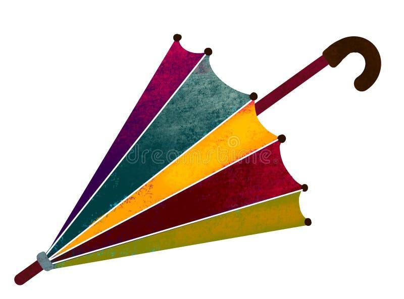 Ombrello della pioggia Ombrello dipinto e multicolore sull'illustrazione bianca del fondo illustrazione di stock