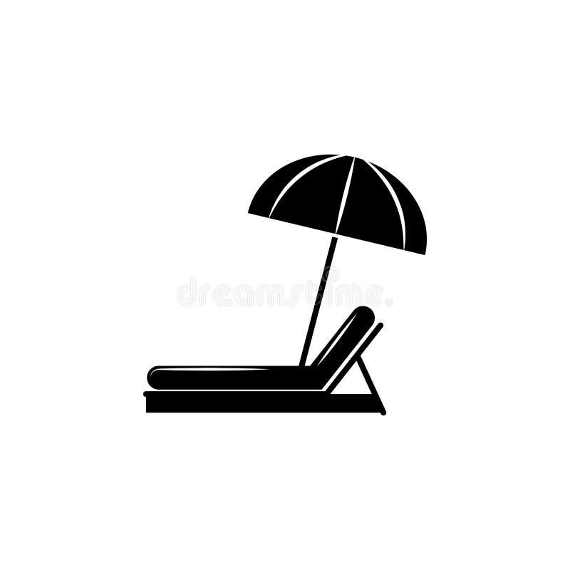 Ombrello di spiaggia ed icona della chaise-lounge di Sun illustrazione vettoriale