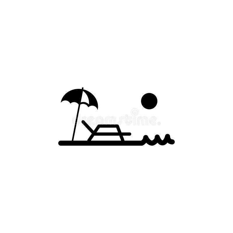 Ombrello di spiaggia ed icona della chaise-lounge di Sun Icona semplice di feste della spiaggia Icona dell'elemento di viaggio Pr illustrazione di stock