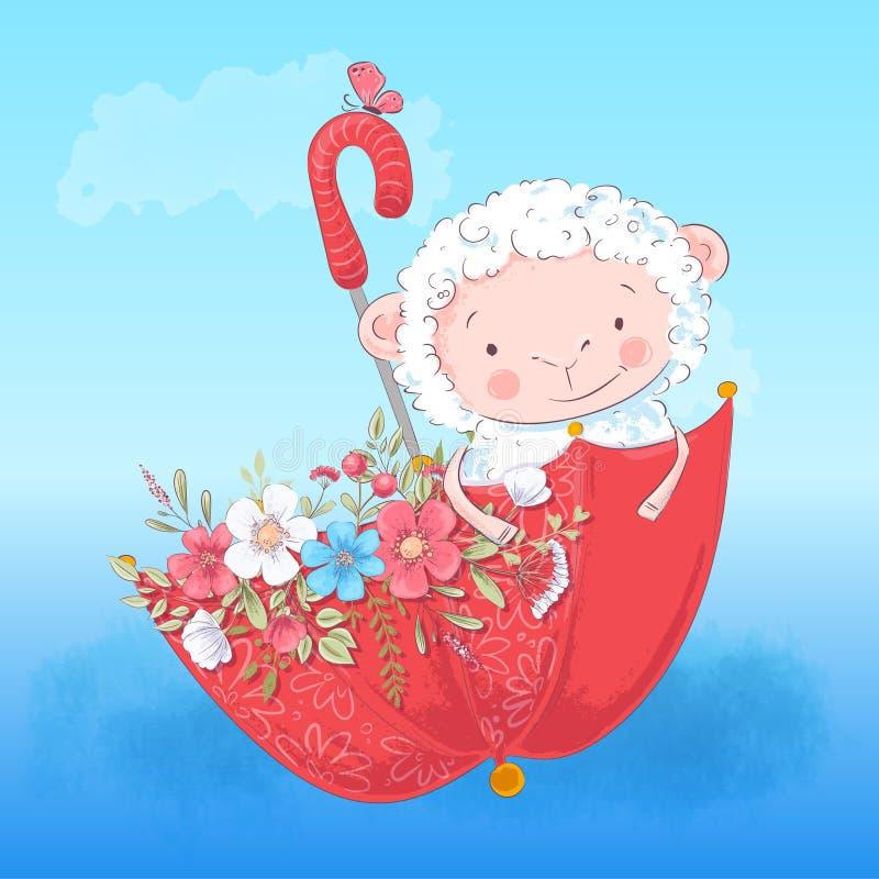 Ombrello e fiori svegli dell'agnello del manifesto illustrazione di stock