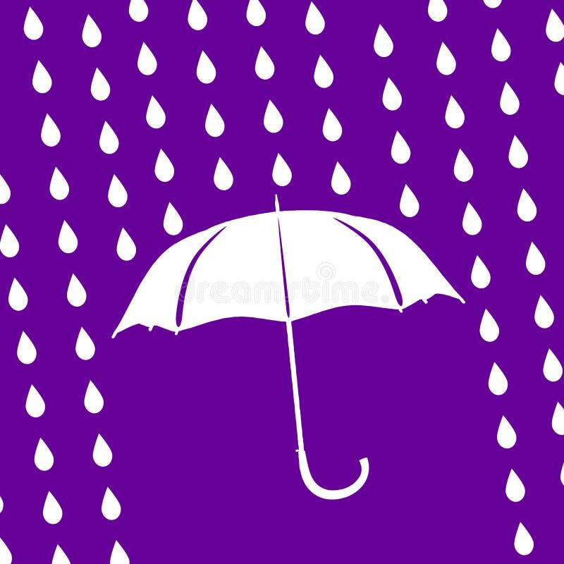 ombrello e gocce di pioggia bianchi su fondo ultravioletto moderno royalty illustrazione gratis