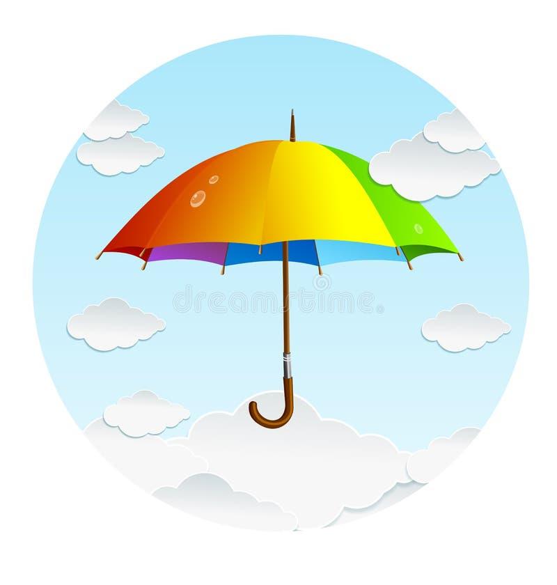 Ombrello e nuvole dell'arcobaleno di vettore royalty illustrazione gratis