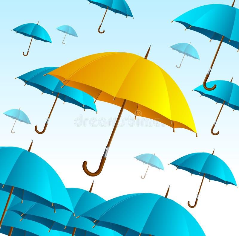 Ombrello giallo sulla mosca blu alta Vettore royalty illustrazione gratis