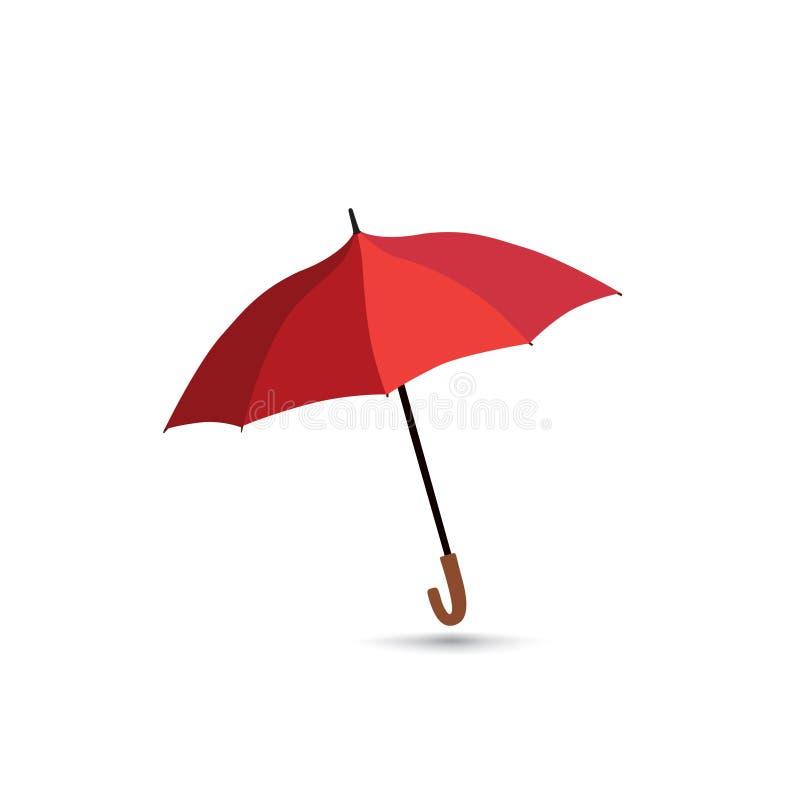 Ombrello isolato sopra fondo bianco Ombrello aperto rosso La VE illustrazione di stock