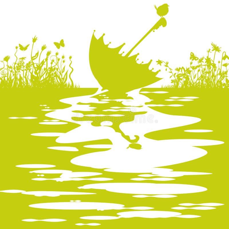 Ombrello nel tempo della pozza della pioggia ad aprile royalty illustrazione gratis