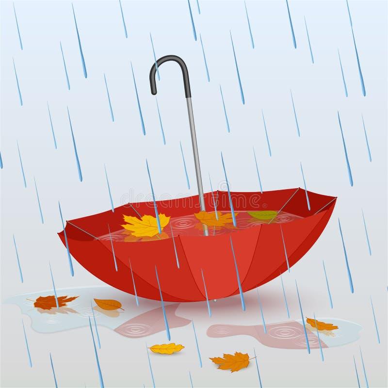 Ombrello nella pioggia, pozze di acqua e foglie gialle cadute illustrazione vettoriale