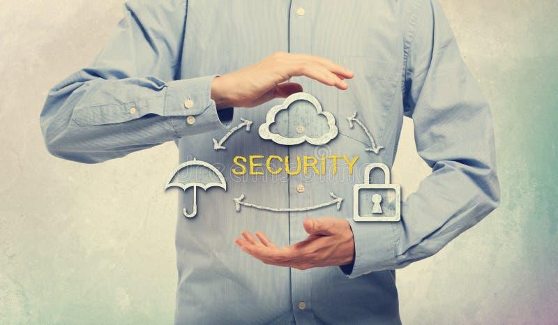 Ombrello, nuvola e serratura per il concetto di sicurezza immagini stock