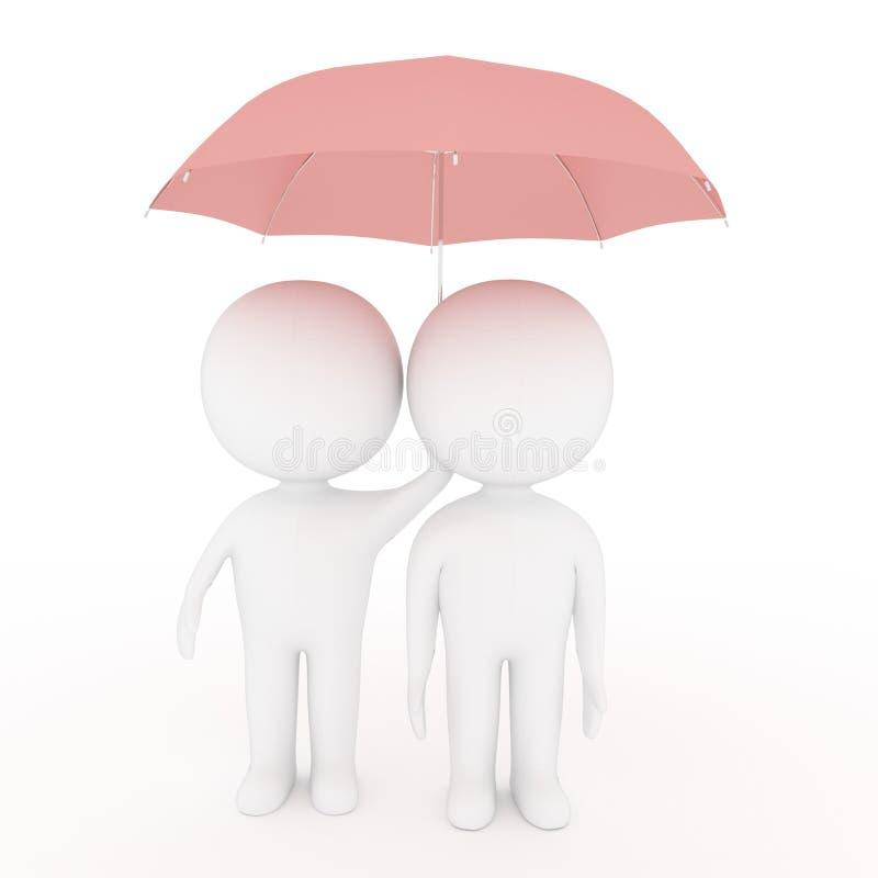 Ombrello piccolo di rosa della tenuta dell'amante della gente bianca su fondo bianco nella rappresentazione 3D illustrazione vettoriale