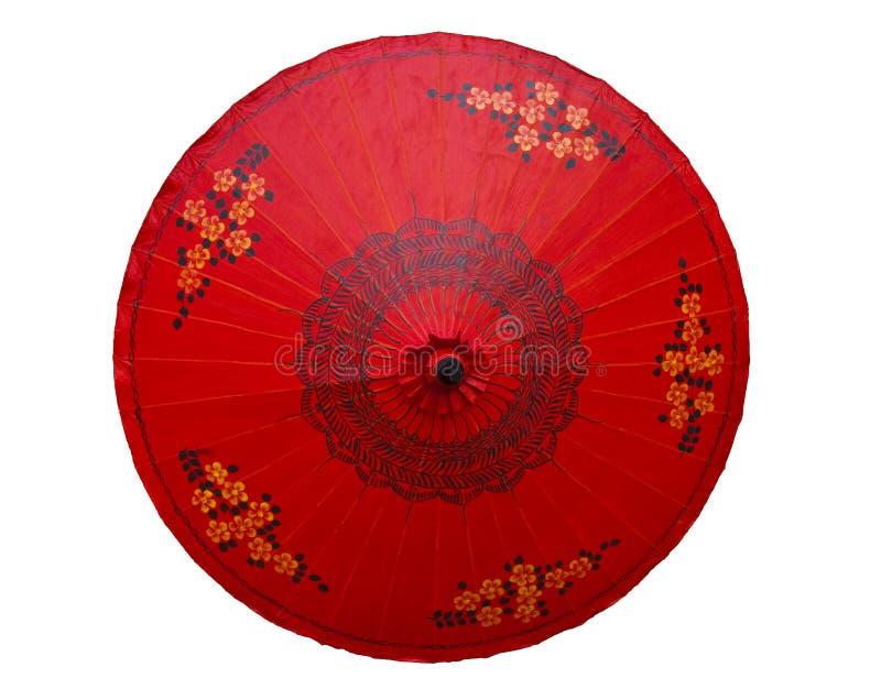 Ombrello rosso con il reticolo tailandese di stile fotografie stock libere da diritti
