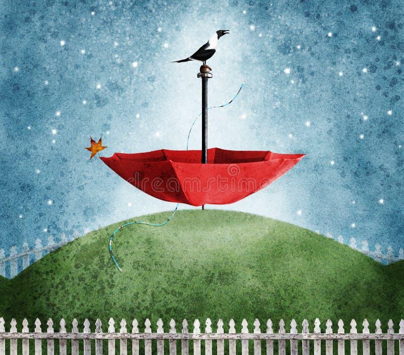 Ombrello rosso sull'estratto della collina royalty illustrazione gratis