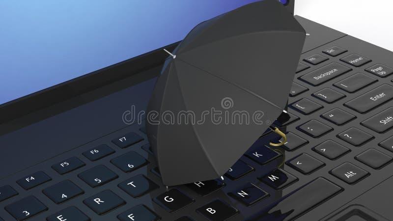 Ombrello sul computer portatile nero royalty illustrazione gratis