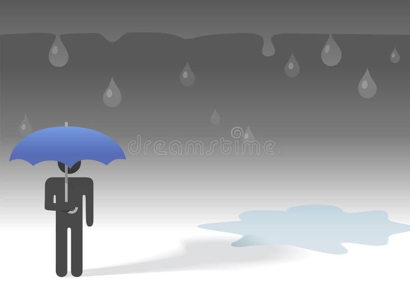 Ombrello triste della persona di simbolo di giorno piovoso royalty illustrazione gratis