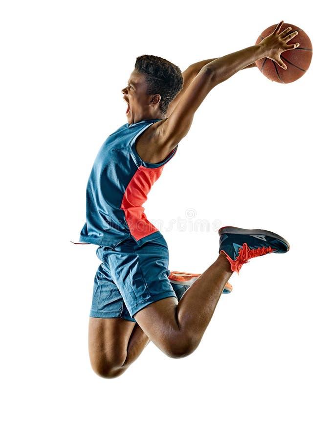 Ombres d'isolement par fille d'adolescente de femme de joueurs de basket photo libre de droits