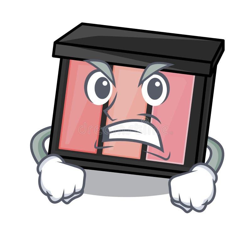 Ombretto arrabbiato del fumetto nella borsa di trucco illustrazione vettoriale