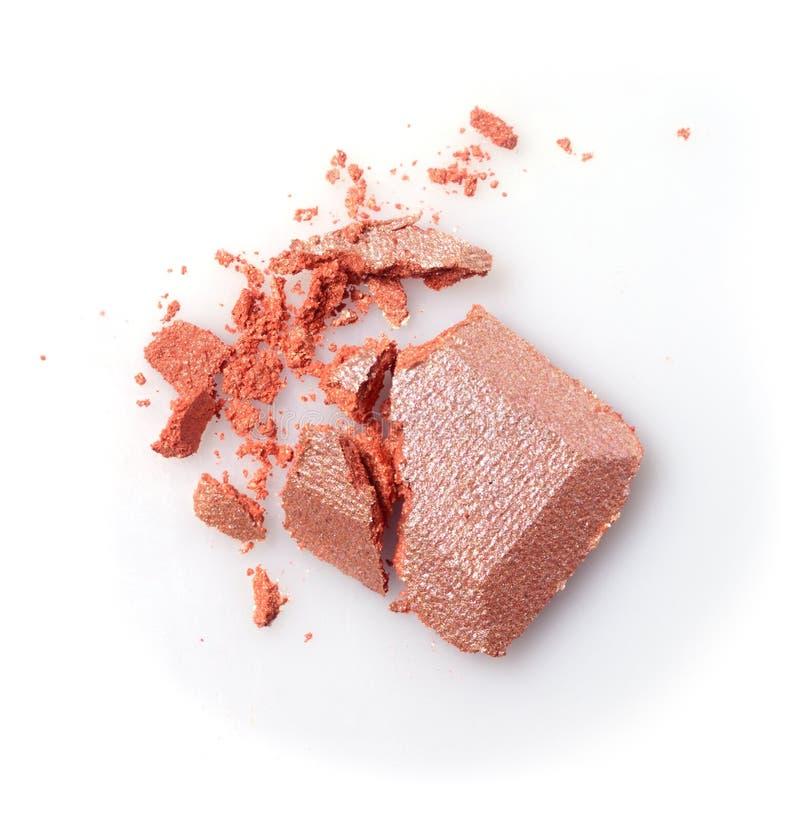 Ombretto schiantato brillante beige per trucco come campione del prodotto cosmetico immagine stock libera da diritti